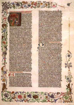 The Giant Bible of Mainz is a very large manuscript Bible produced in 1452-3
