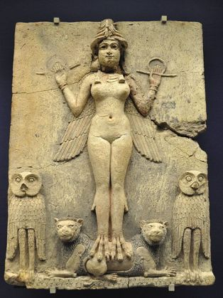 Burney Relief, Babylon (1800-1750 BCE). The figure in the relief was sometimes identified with Lilith, based on a misreading of an outdated translation of the Epic of Gilgamesh. Modern research has identified the figure as either Ishtar or Ereshkigal.