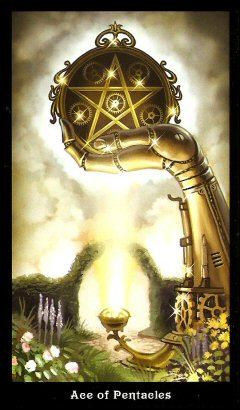 The Steampunk Tarot by Aly Fell - Ace of Pentacles