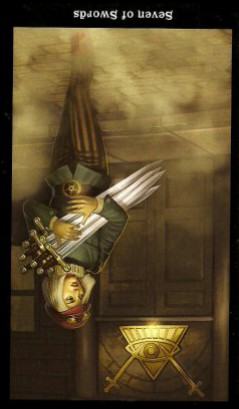 The Steampunk Tarot by Aly Fell - Seven of Swords:Inverted