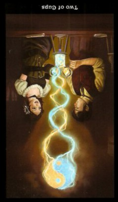 The Steampunk Tarot by Aly Fell - Two of Cups - Inverted