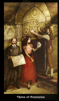 The Steampunk Tarot by Aly Fell - Three Of Pentacles