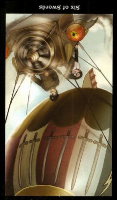 The Steampunk Tarot by Aly Fell - Six of Swords - Inverted