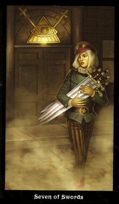 The Steampunk Tarot by Aly Fell - Seven of Swords