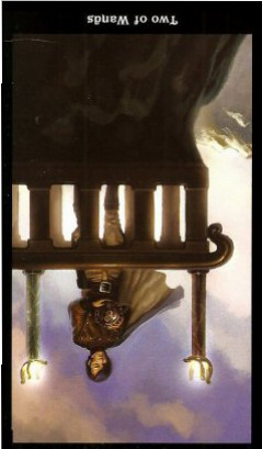The Steampunk Tarot by Aly Fell - Two of Wands - Inverted