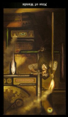 The Steampunk Tarot by Aly Fell - Nine of Wands: Inverted