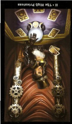 The Steampunk Tarot by Aly Fell - The High Priestess - Inverted