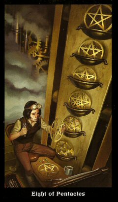The Steampunk Tarot by Aly Fell - Eight of Pentacles