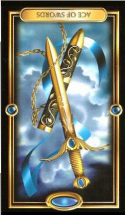The Gilded Tarot by Ciro Marchetti - Ace of Swords : Inverted