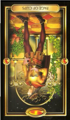 The Gilded Tarot by Ciro Marchetti - Page of Cups - Inverted