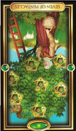 The Gilded Tarot by Ciro Marchetti - Seven of Pentacles : Inverted