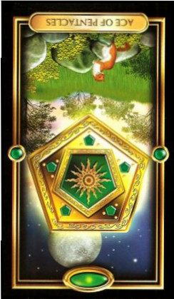 The Gilded Tarot by Ciro Marchetti - Ace of Pentacles - Inverted