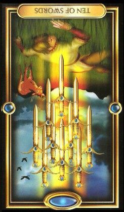 The Gilded Tarot by Ciro Marchetti - Ten of Swords Inverted