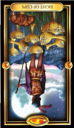 The Gilded Tarot by Ciro Marchetti - Eight of Cups : Inverted