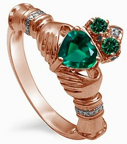 Rose Gold and Emerald Claddagh Ring