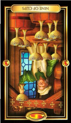 The Gilded Tarot by Ciro Marchetti - Nine of Cups : Inverted