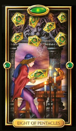 The Gilded Tarot by Ciro Marchetti  - Eight of Pentacles