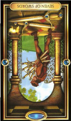 The Gilded Tarot by Ciro Marchetti - Seven of Swords - Inverted