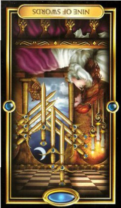 The Gilded Tarot by Ciro Marchetti  - Nine of Swords - Inverted
