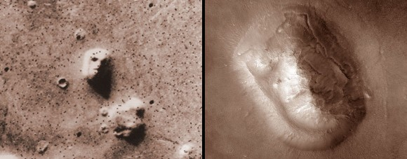 The infamous Mars Face (left) photographed in comparatively low resolution by the Viking orbiter in 1976 and a much higher resolution view made by current Mars Reconnaissance Orbiter. Credit: NASA