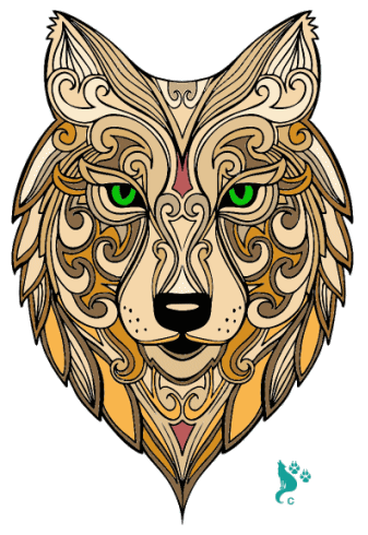 Tribal Alpha Wolf Colored by Springwolf